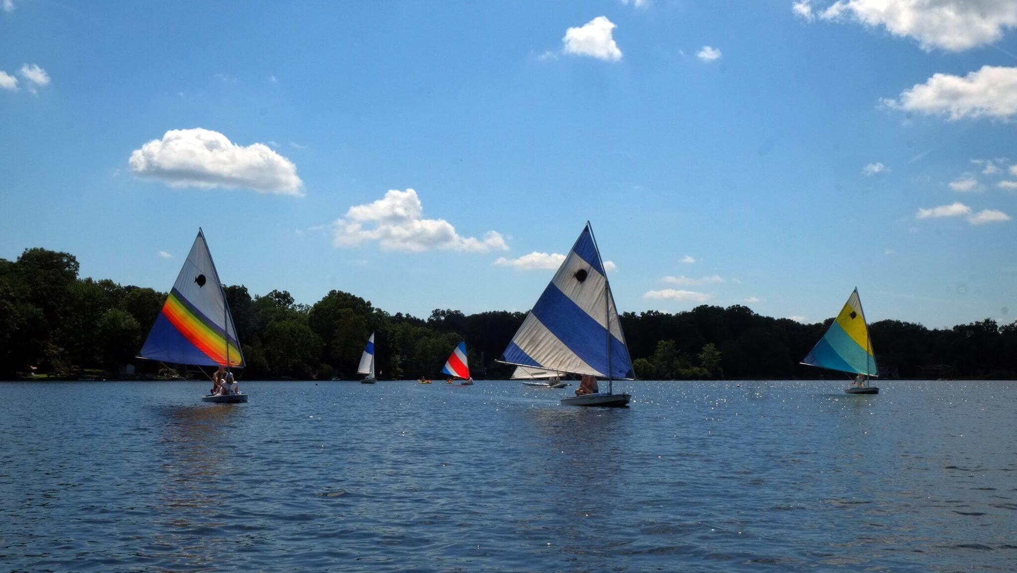Sailboats near and far on Cedar Lake.