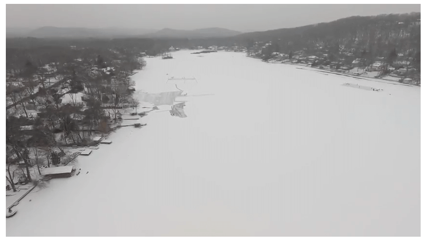 Snowy Day on Cedar Lake (Drone Footage)