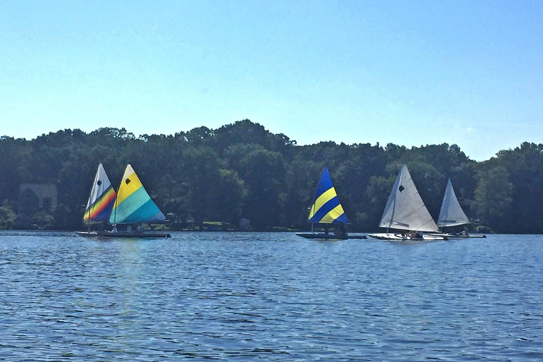 Sunfish sailboats on Cedar Lake