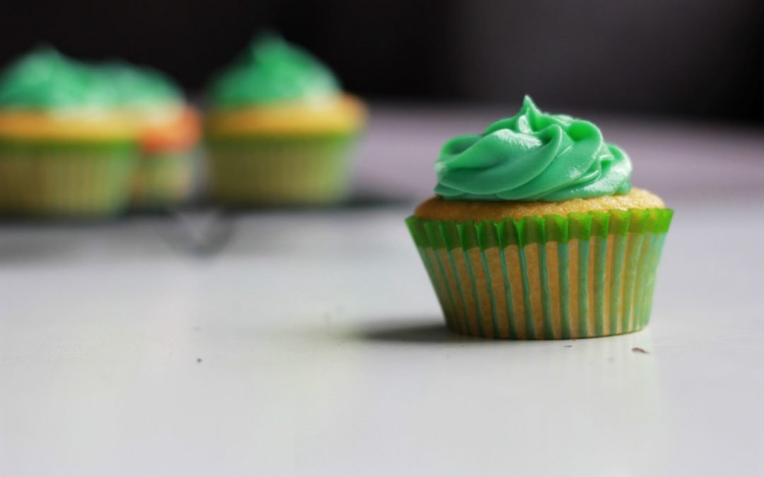 Cupcakes with green icing.